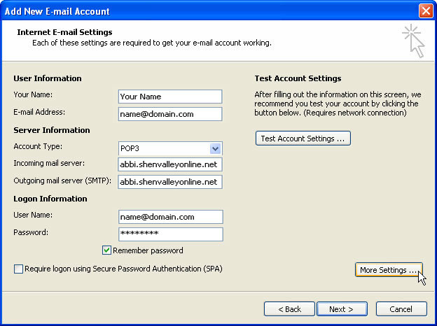 Internet E-mail Settings