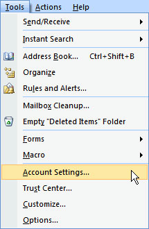 Outlook 2007 Tools menu