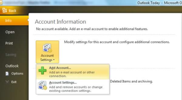 Outlook 2010 Add Account